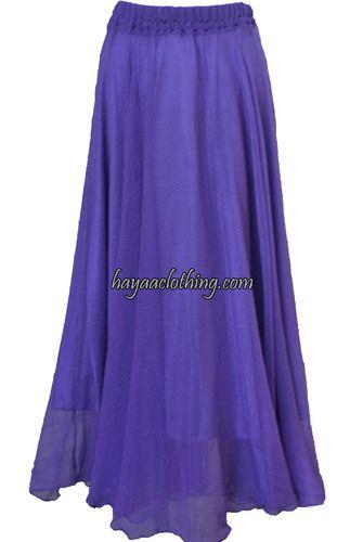 Soft Flowy Long Chiffon Skirt - Purple