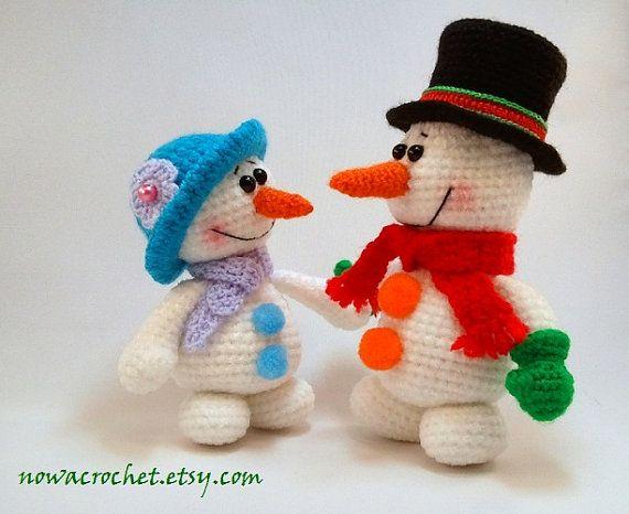 Snowman family amigurumi PDF crochet pattern by Nowacrochet