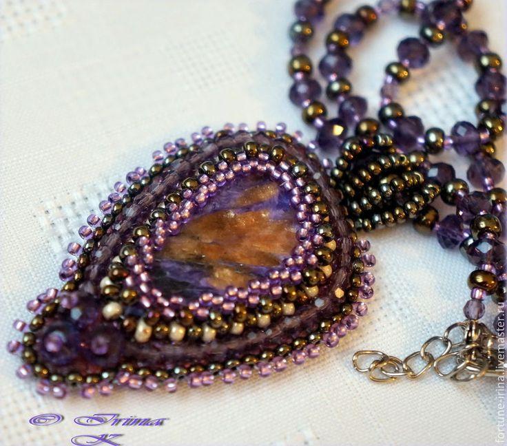 Купить Два кулона с природным чароитом. - фиолетовый, кулон с камнем, кулон натуральный камень