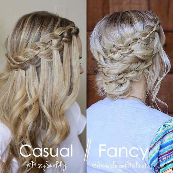 How to Four Strand Waterfall Braid into a Fancy Updo with Missy Sue ❤ liked on Polyvore featuring hair and hairstyle