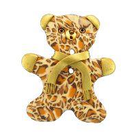 Bouton en forme de nounours motif Léopard avec écharpe ,oreilles et main dorés