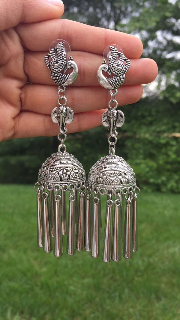 c5326146d German silver earrings with peacock and elephant design (Jewelry &  Accessories) in Olney, MD - OfferUp