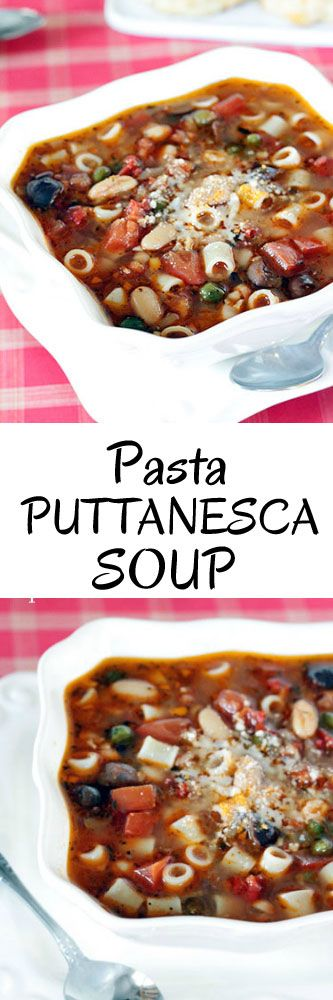 Pasta Puttanesca Soup #soup #vegetarian #comfortfood