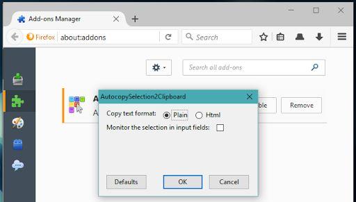 AutocopySelection2Clipboard для #Firefox автоматически копирует выделенный текст в буфер обмена https://addons.mozilla.org/en-US/firefox/addon/autocopyselection2clipboard/