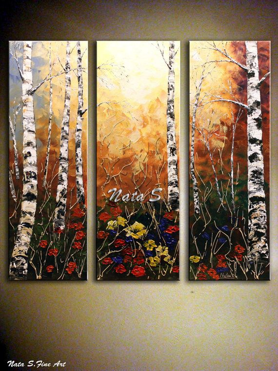 Original Birch Tree Painting Abstract Acrylic Textured