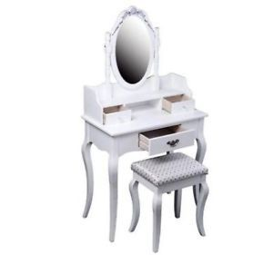 Antique Styled Vanity Dressing Table / Dresser w/ Mirror & Stool