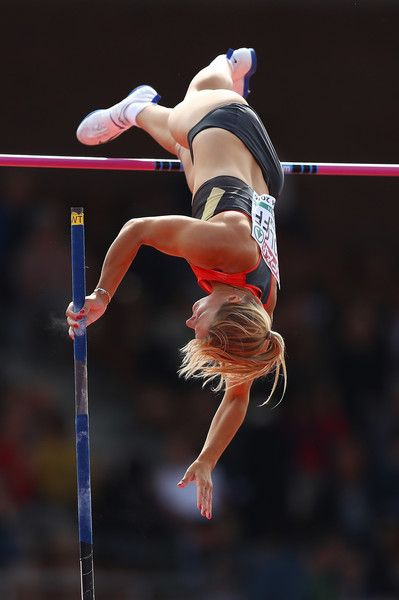 Annika Roloff of Germany in action during qualifying for the womens pole vault on day two of The 23rd European Athletics Championships at Olympic Stadium on July 7, 2016 in Amsterdam, Netherlands.
