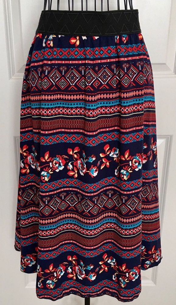 Lularoe Floral Aztec Print Midi Skirt Blue Red Lined Stretch Waistband Medium #LulaRoe #Skirt