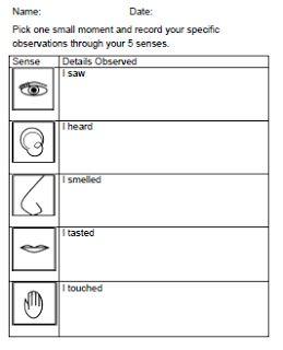 FREEBIE worksheet for sensory writing about Thanksgiving.