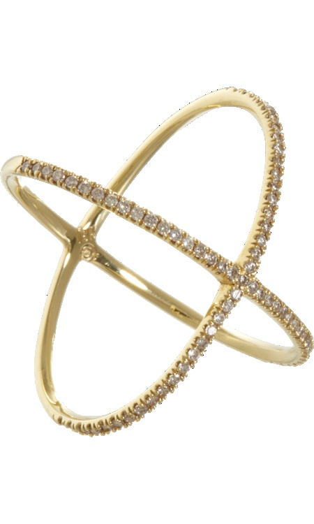 Eva Fehren Champagne Diamond & Gold 'X' Ring