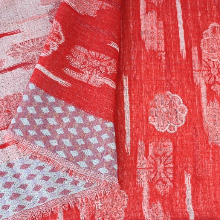 'Floating Flowers' Wool Scarf in Poppy Red by Juniper Hearth. 100% fine wool. $89.