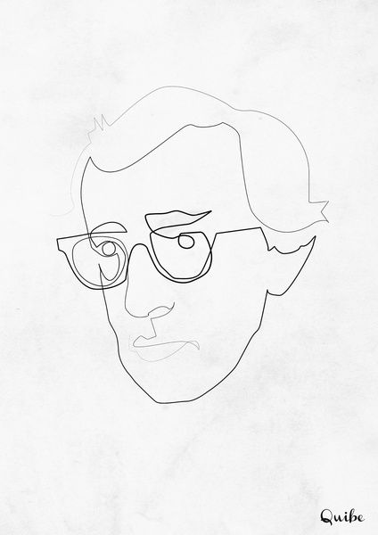 Continuous Line Drawing Quibe : One line woody allen art print by quibe i l u s t r