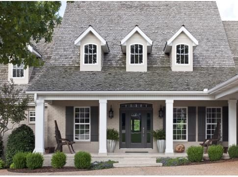 Taupe house with black shutters home sherwin williams colors tony taupe brick black fox - Exterior black paint ideas ...