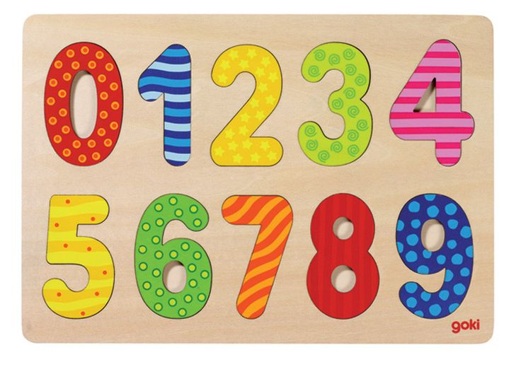 Simple design, brightly coloured and a great introduction for numbers to the littlies. 10 wooden digits from 0-9 that are chunky for little hands and clearly recognisable by the brightly coloured patterns. A basic must-have for the playroom.
