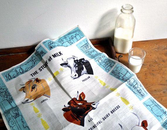 Retro kitchen / vintage tea towel / house warming by 1001Artforms