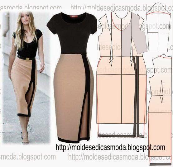 Resultado de imagem para molde de vestido longo casual
