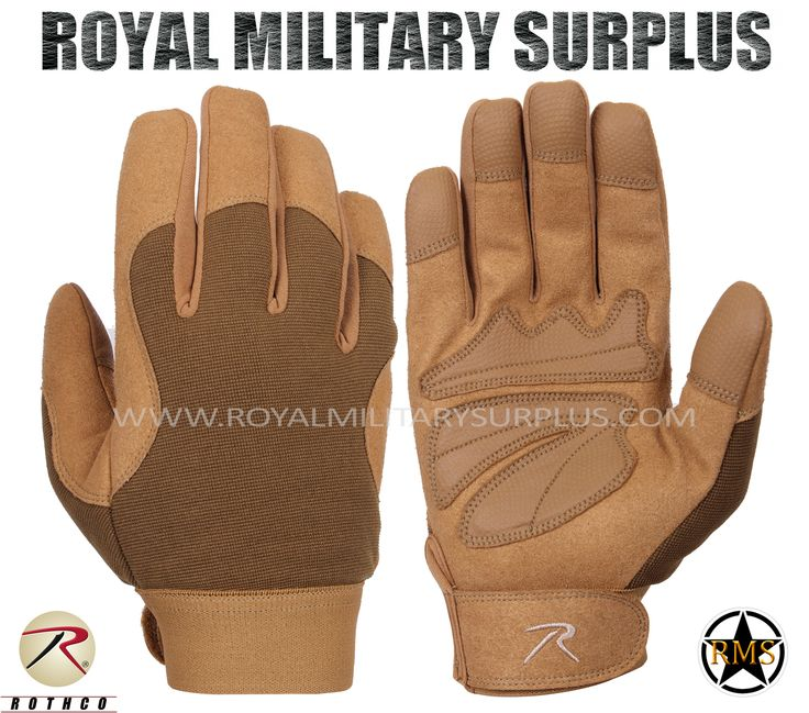 Tactical Gloves - Mechanics - COYOTE BROWN (Desert/Arid) - 37,95$ (CAD) | COYOTE BROWN (Desert/Arid) Tactical Camouflage Pattern Military Mechanics Design Made following Military Specifications Polyester & Leather Construction Synthetic Leather Padded Palms Reinforced Fingers & Palm Moisture Wicking Technology Adjustable Wrist (Hook & Loop) BRAND NEW Available Sizes : S - M - L - XL http://www.royalmilitarysurplus.com/Gloves_c23.htm