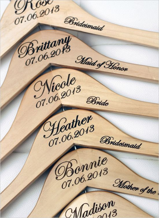 Customizable bridal party hangers as gifts. Wedding Accessories: Delovely Details #wchappyhour ---> http://www.weddingchicks.com/2014/05/19/weddingchickshappyhour/