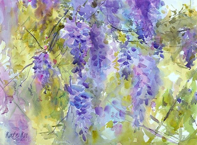 Day 4 'Femininity' - watercolour 57x42cm Happy Women's Day! Every evening until Sunday I'm sharing a floral painting with you and tomorrow's painting - poppies! #wisteria #womensday #mothersday #floral #art