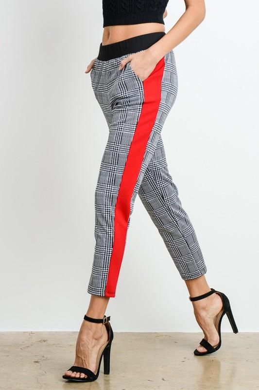 66b9029e957 Contrast Stripe Plaid Print Pants