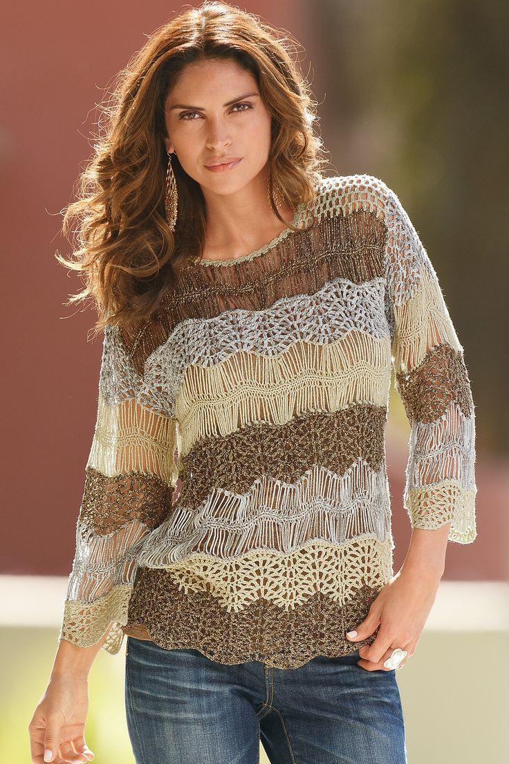 Hairpin Crochet within a chevron pattern top. Metallic shimmer acrylic yarn. By Boston Proper 'Textured Crochet Sweater'