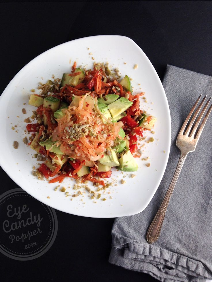 My weirdly delicious salad with natural pre- and pro-biotics! (vegan, raw, paleo, gluten-free) #healthy