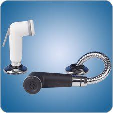 """Scandvik 10054 BLACK SPRAYER HANDLE AND HOSE SPRAYER KIT by Scandvik. $34.19. Made of plastic and chrome plated brass. Thread type: 3/8"""" BSP. 6' nylon hose. Color of hose matches handle."""