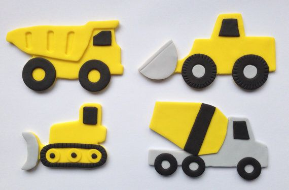 Quantity: One fondant cake topper. Your choice of: dump truck, front end loader, bulldozer or cement mixer. Size: Dump truck, front end loader and cement mixer - 4 inches Bulldozer - 3 inches   **IMPORTANT** Please order at least 2 weeks prior to your event. Please check my shop announcement at http://topitcupcakes.etsy.com prior to placing your order to make sure Im not already booked for your event date. Feel free to convo me for rush orders. Place your event date in the note to seller…