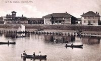 Grand Trunk Railway Station from the water, Allandale (B&W, Part of modern day Barrie)