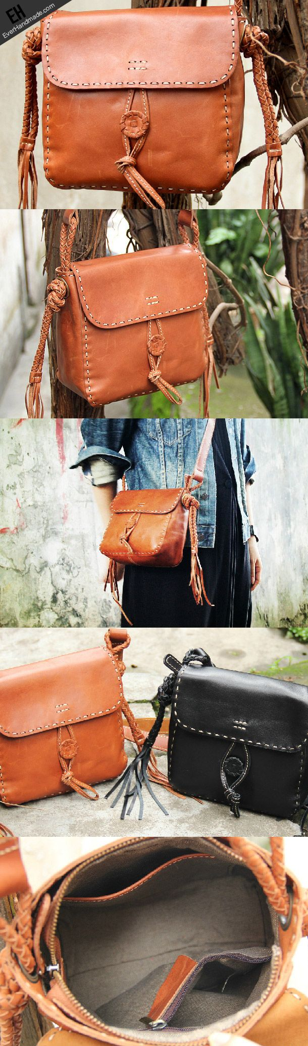 Handmade vintage rustic brown leather crossbody Shoulder Bag for women | EverHandmade