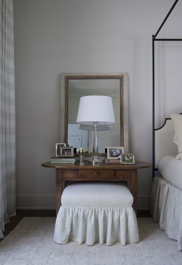 Nest and Cot interior design ~ bedroom vanity with skirted stool