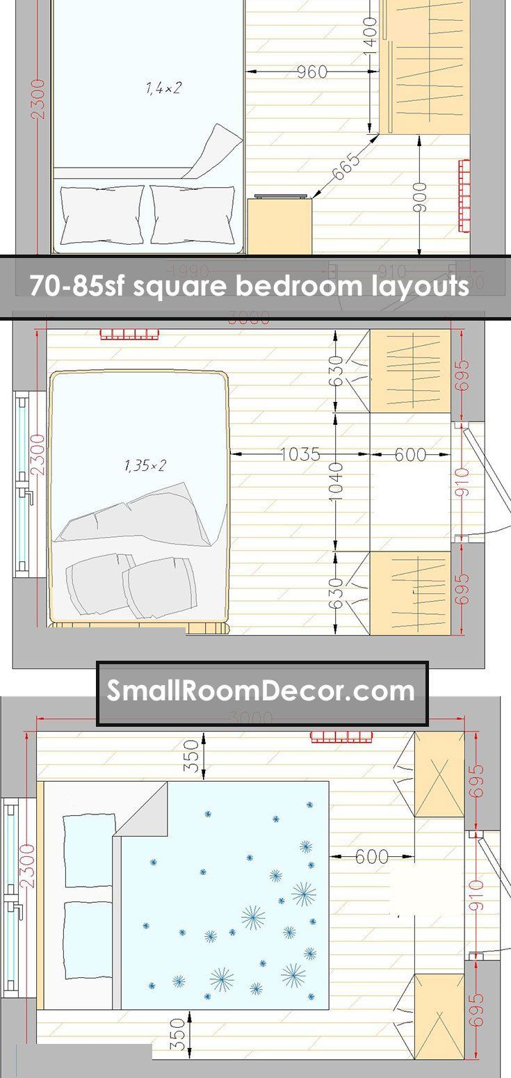 Bedroom Layouts For Small Rooms 16 Standart And 2 Extreme Small Bedroom Layout Ideas From In 2020 Small Bedroom Layout Bedroom Furniture Layout Bedroom Layouts
