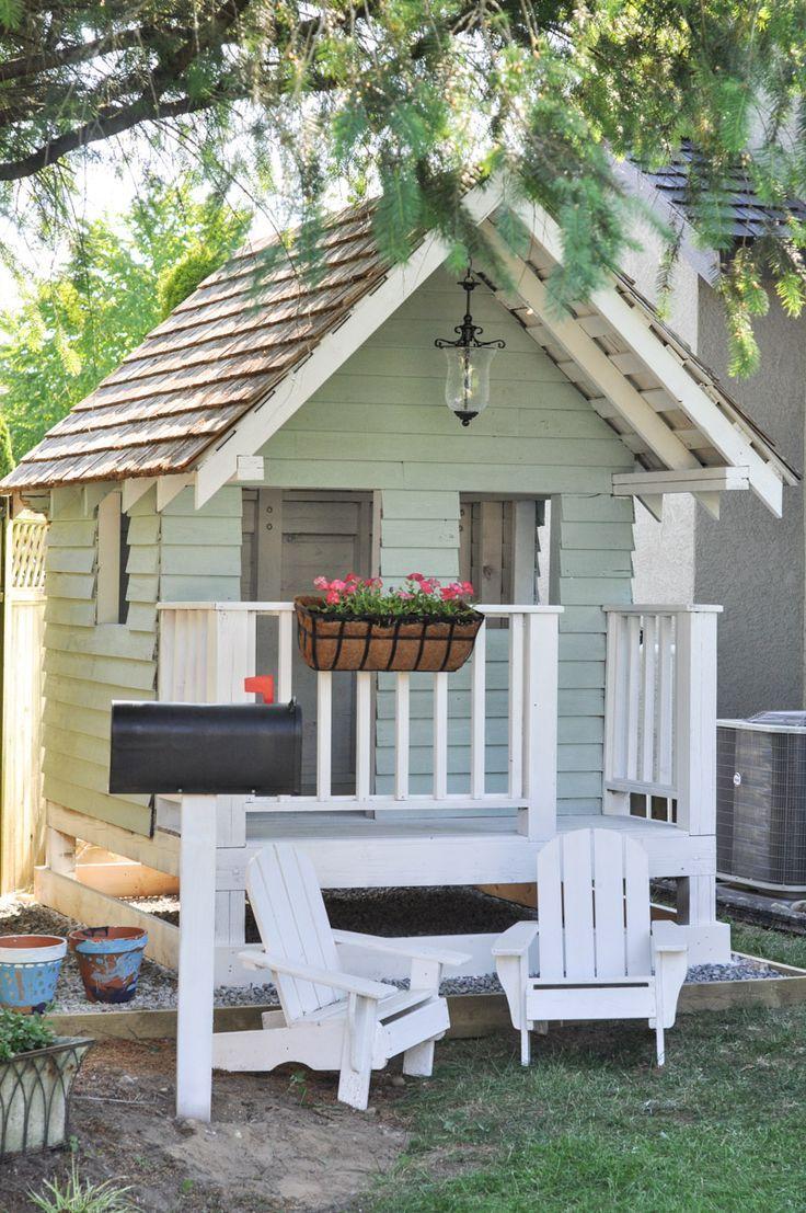 DIY Outdoor Playhouse idea for kids including