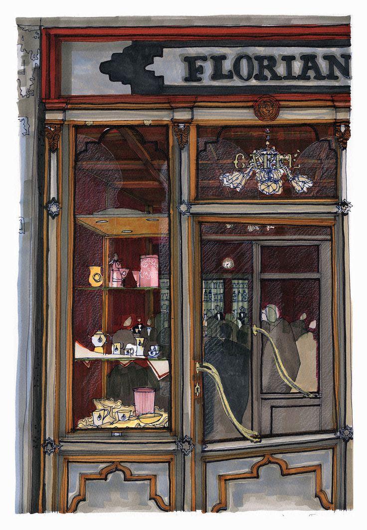 Caffé Florian, St Mark's Square, Venice. #Venice #St Mark's Square #Architecture #Art #Drawing