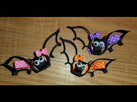 BAT Ribbon Sculpture Halloween Holiday Hair Clip Bow DIY Free Tutorial b...
