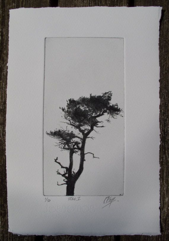 Tree 1 A drypoint print of a tree from a copper door RichardKayeArt