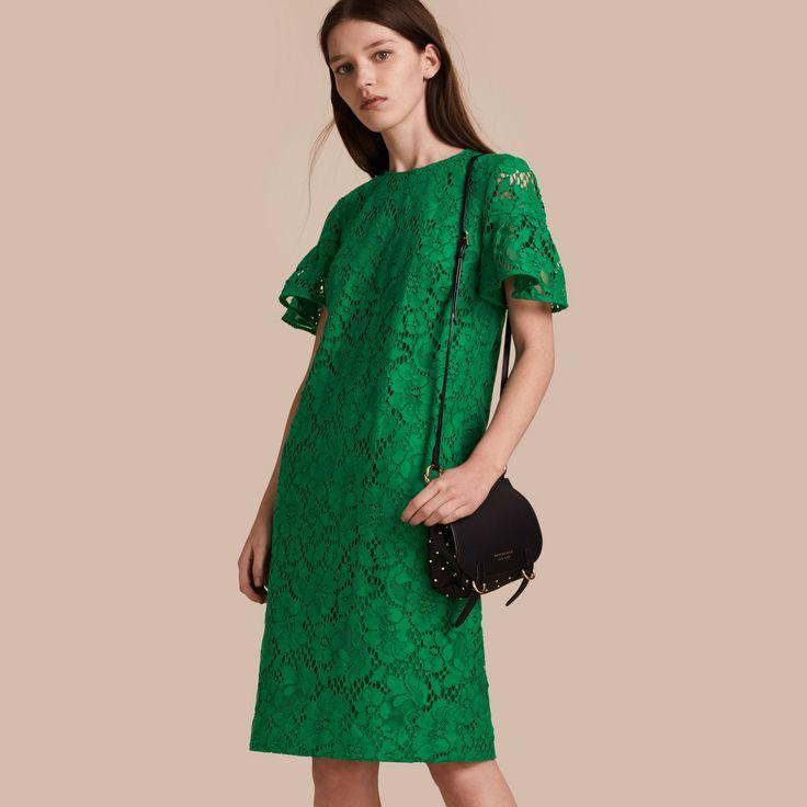 Кружевное платье с оборками на рукавах Яркий Желто-зеленый | Burberry