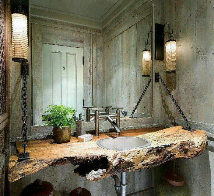 Incredibly Creative And Unique This Clever Use Of Reclaimed Wood Gives This Bathroom Countertop A Rich And Warm Rustic Yet Modern Appeal