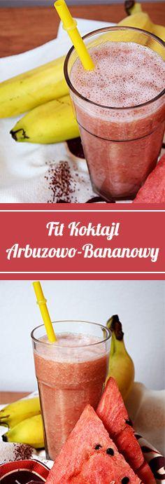 #Fit #koktajl arbuzowo 🍉 bananowy 🍌 w 3 minuty! :P   #banan #arbuz #shake #poprostupycha #przepis