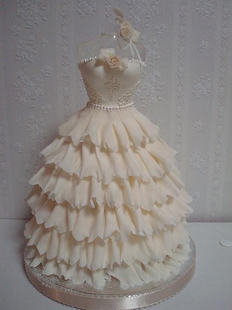 Ruffled dress cake