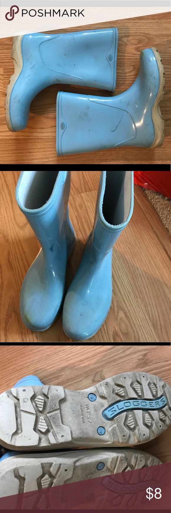 Baby Blue Rain Boots These galoshes are worn but still alive! Tag size 7. Sloggers Shoes Winter & Rain Boots