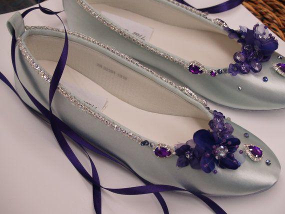 Purple Wedding Flats SilverPurple with swarovski by NewBrideCo, $142.00
