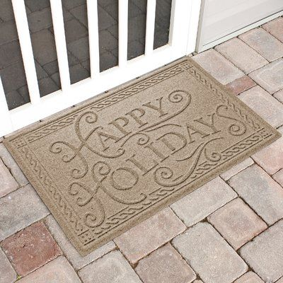 The Holiday Aisle Happy Holidays Outdoor Doormat Color: Camel