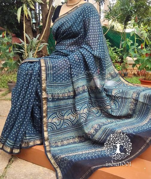 Elegant Maheshwari Saree With Ajrakh Block Printing