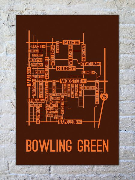 Bowling Green, Ohio Street Map Print - School Street Posters