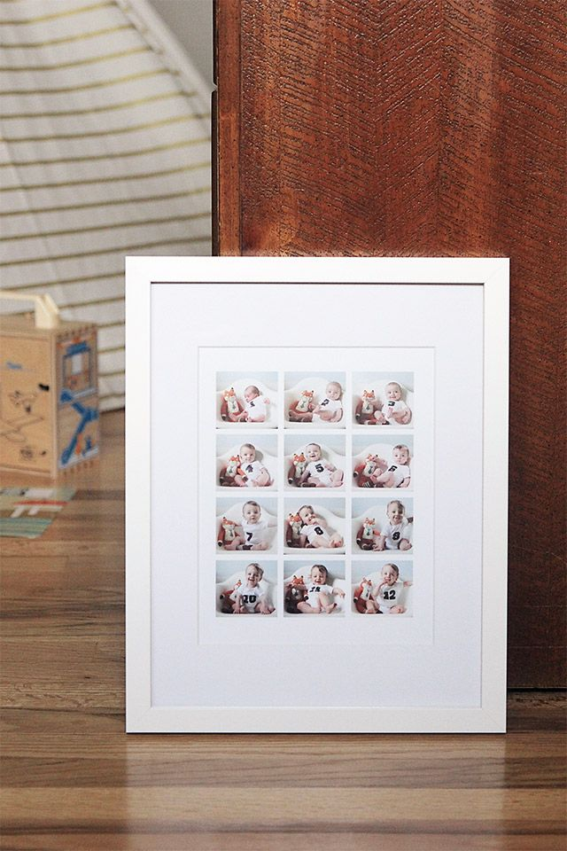 Tips on taking monthly baby photos. I used @pinholepress to print a collage of Levi's baby pictures. -  A Girl Named PJ