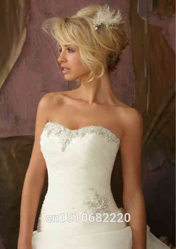 Strapless A-Line Wedding Dress Bridal Gown Custom Size