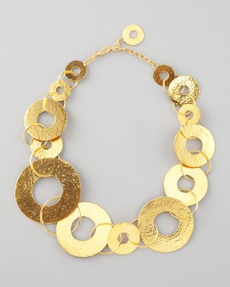 Gold Disc Necklace by Herve Van Der Straeten at Neiman Marcus.