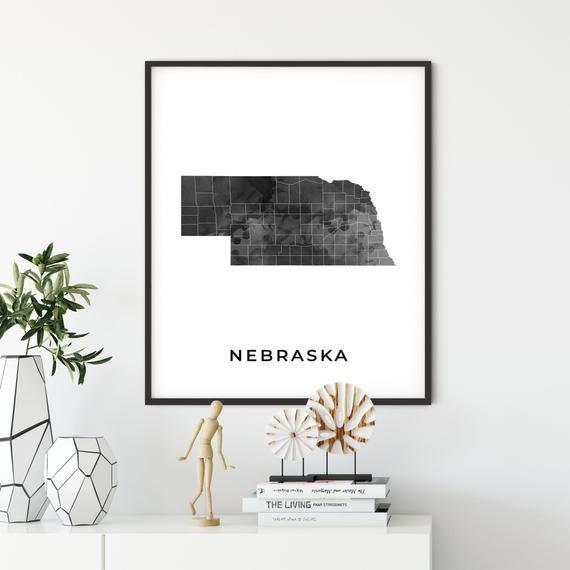 Nebraska Map Art Poster Black And White Wall Art Print Of Etsy Map Wall Art Map Art White Wall Art