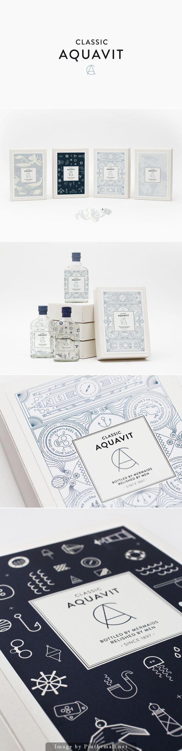 L'artiste responsable de ce beau packaging est Nina Brandt, une graphiste/illustratrice basée en Allemagne. Ses illustrations réalisées pour Classic Aquavit sont à la fois simples et complexes. Construites à partir de lignes, on pourrait croire qu'il s'agit de pictogrammes imbriqués les uns dans les autres. Un résultat bluffant, beau, qu'on pourrait regarder des heures et …